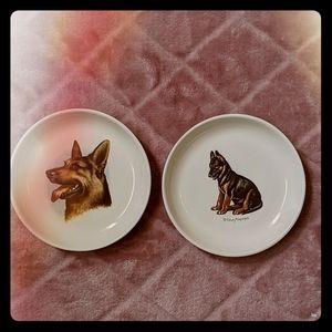 2 Edwin Megargee German Shepherd Trinket Dishes